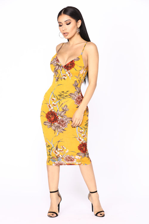 Growing Love Floral Dress - Mustard