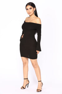 Nicolette Off Shoulder Dress - Black