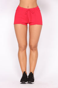 Stay In Shape Contouring Lounge Shorts - Red