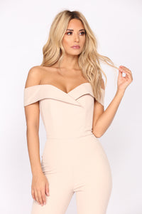 Ana Maria Off Shoulder Jumpsuit - Nude
