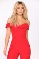 Ana Maria Off Shoulder Jumpsuit - Red