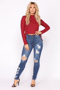 Too Much Fun Lace Up Top - Burgundy
