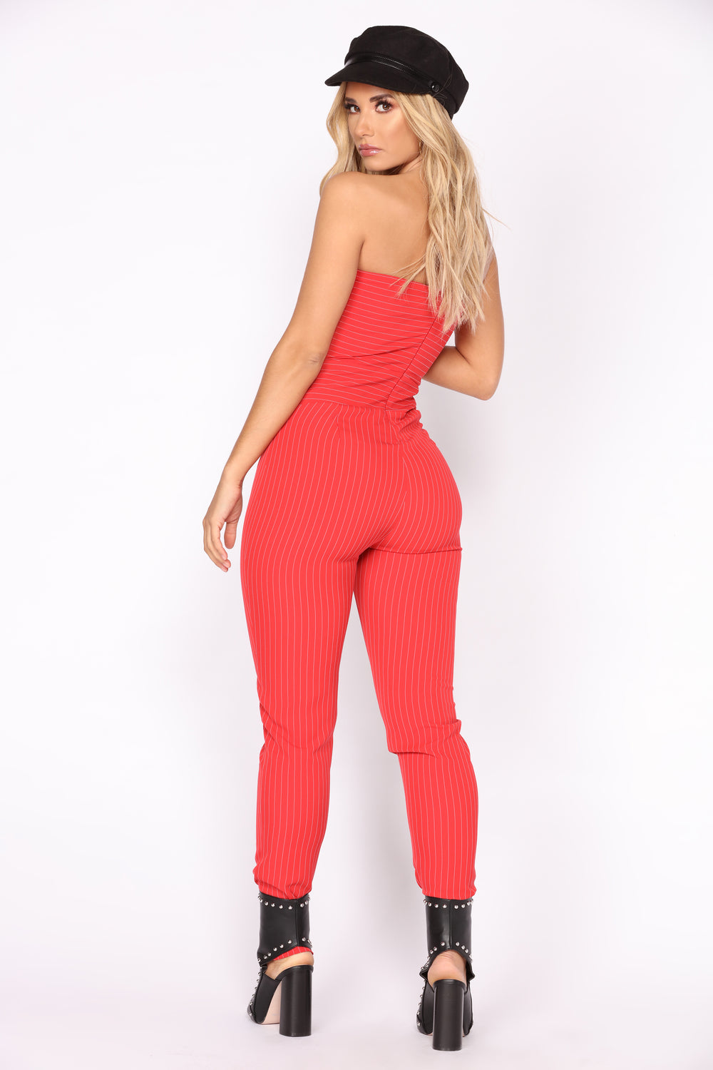 Never Better Stripe Jumpsuit - Red