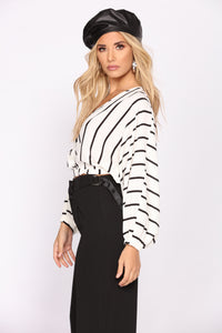 Sweet Stories Surplice Top - Black/White