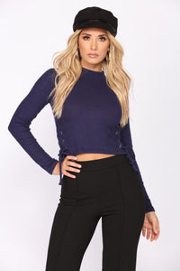 Too Much Fun Lace Up Top - Navy Angle 1