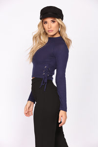 Too Much Fun Lace Up Top - Navy Angle 3