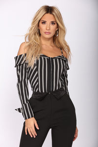 Hooked On Stripes Top - Black/White