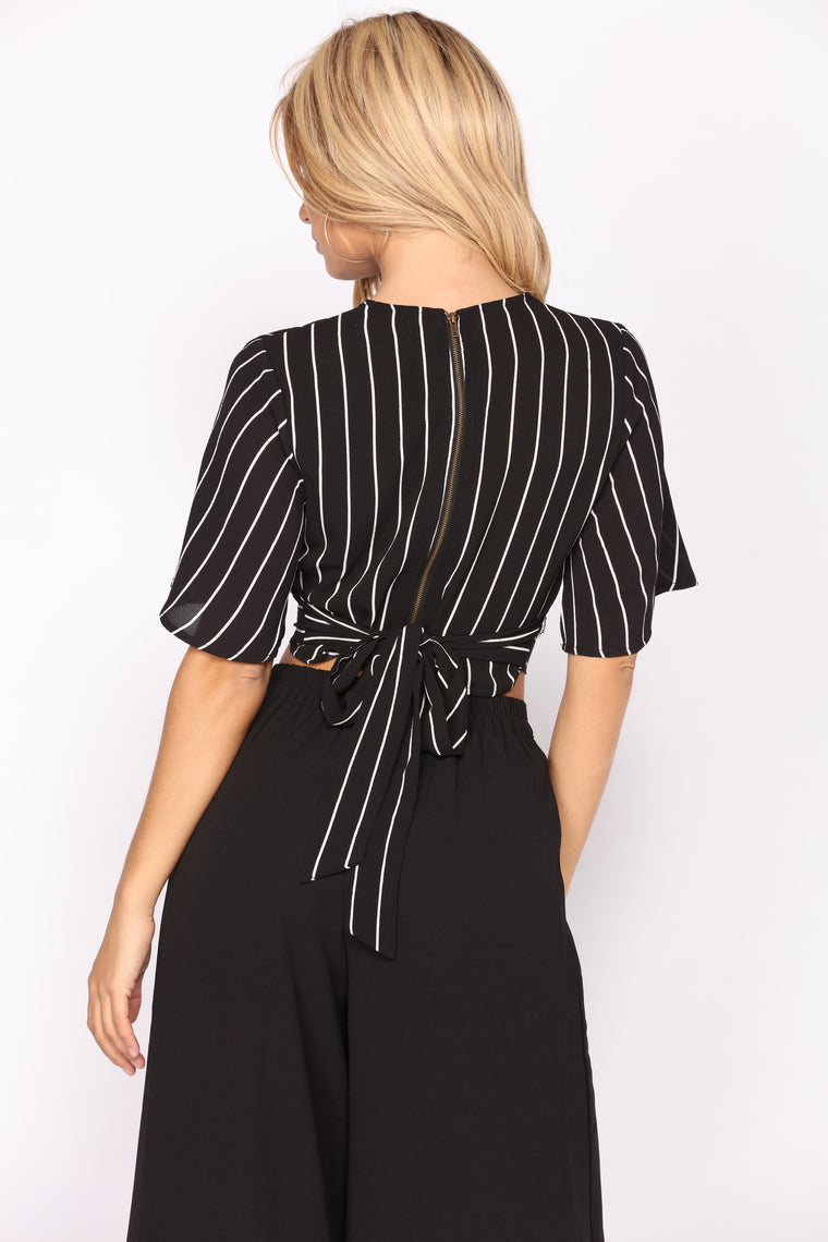Britney Striped Top - Black/White