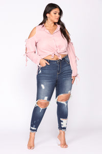 Devious Distressed Ankle Jeans - Dark Denim