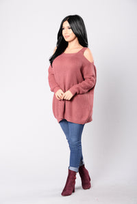 Bundled By The Fire Sweater - Marsala