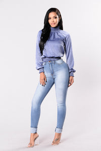 Hide Away Top - Dusty Blue
