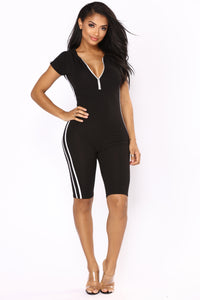 Sabrina Striped Lounge Romper - Black