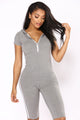 Sabrina Striped Lounge Romper - Grey