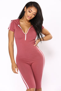 Sabrina Striped Lounge Romper - Mauve