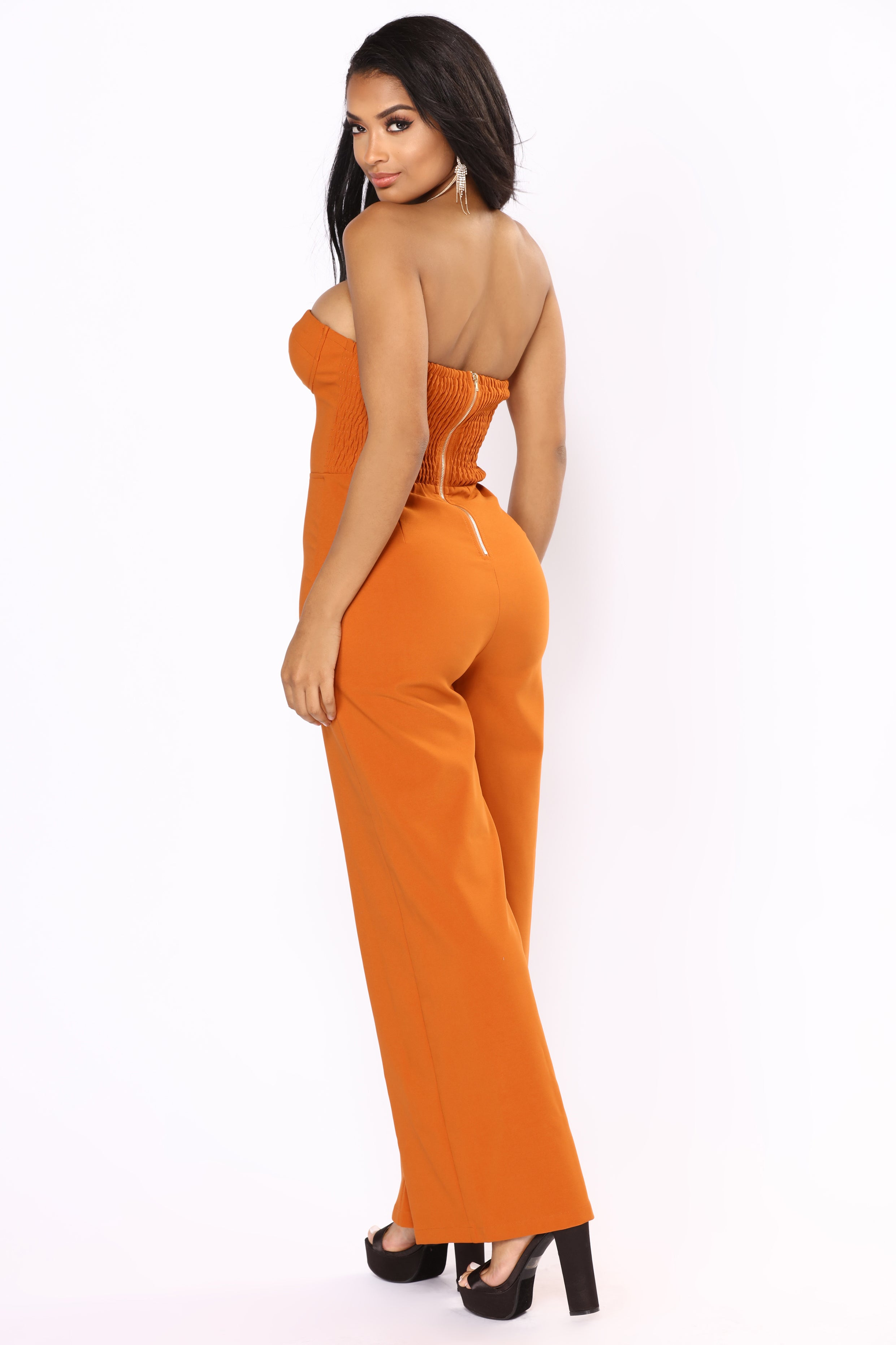 ce70bcc14313 Calm And Collected Strapless Jumpsuit - Rust
