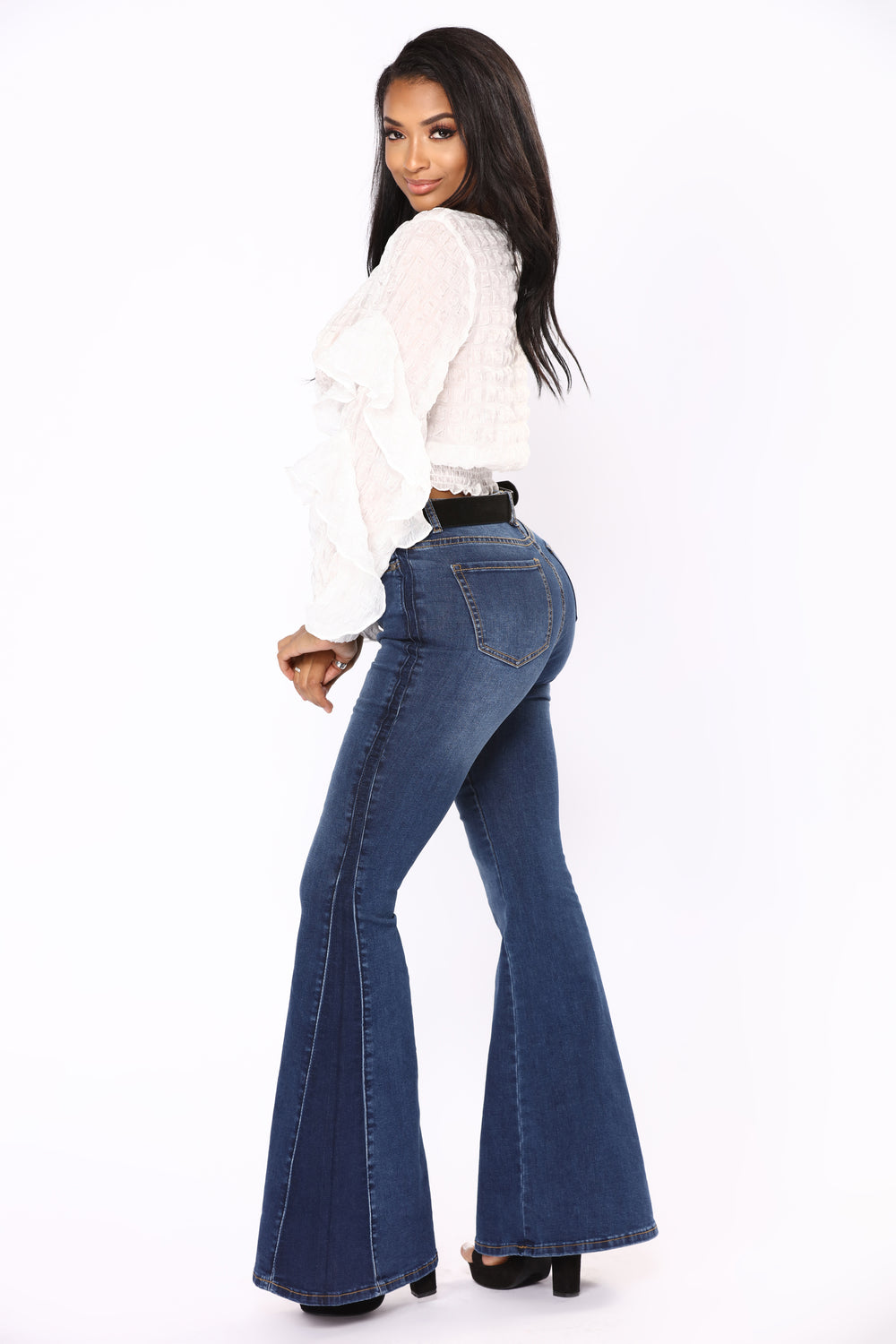Stay Groovin' Bell Bottom Jeans - Dark Denim