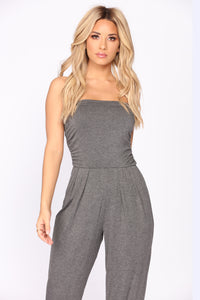 Alison Tube Jumpsuit - Charcoal