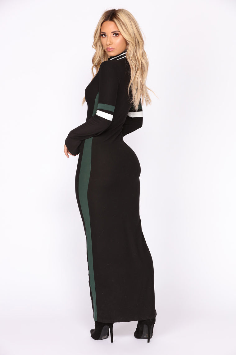 Join My Team Dress - Black/Green