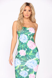 Tropical Escape Tube Dress - Green Multi
