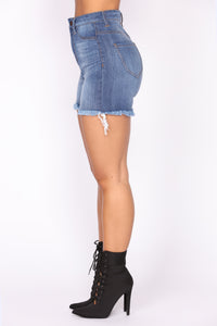 Syd High Rise Denim Shorts - Medium Blue Wash