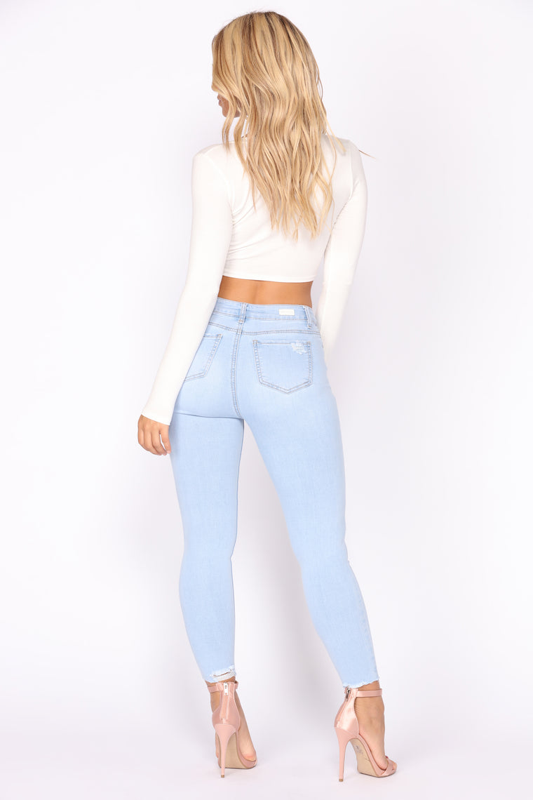 No Distressin' Over You Ankle Jeans - Light Blue Wash