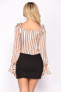 Briella Striped Top - Brown/Ivory