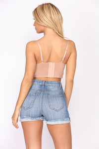 Quick Night Plans Lace Top - Almond