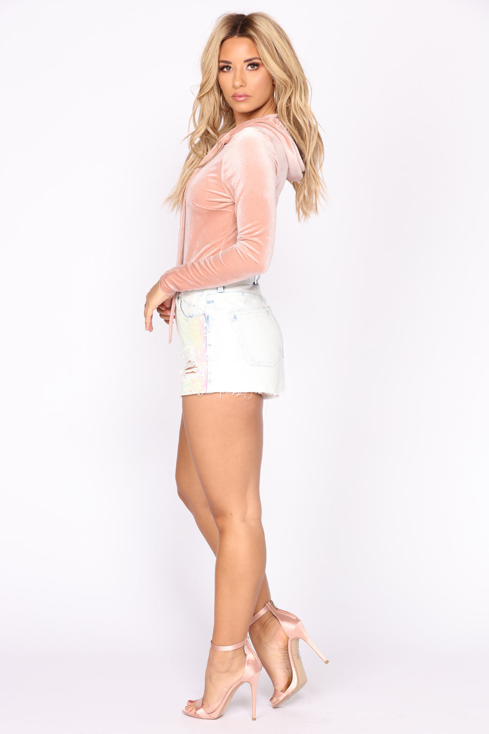 Party In The Front Sequin Denim Shorts - Light Blue Wash
