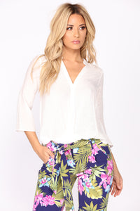 Kayla Surplice Blouse - Off White