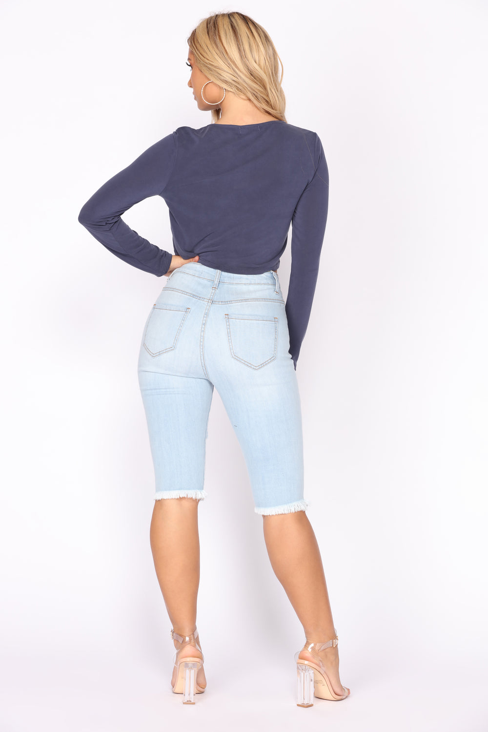 Leave It To Me Bermuda Shorts - Light Blue Wash