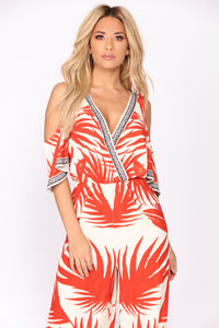 See The Sunrise Tropical Jumpsuit - Ivory/Red
