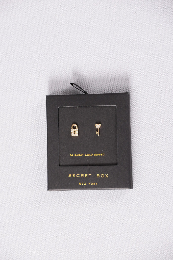 Locked Lover Dripping In Gold Earrings - Gold