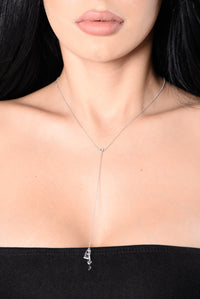 Locked Lover Dripping In Gold Necklace - White Gold