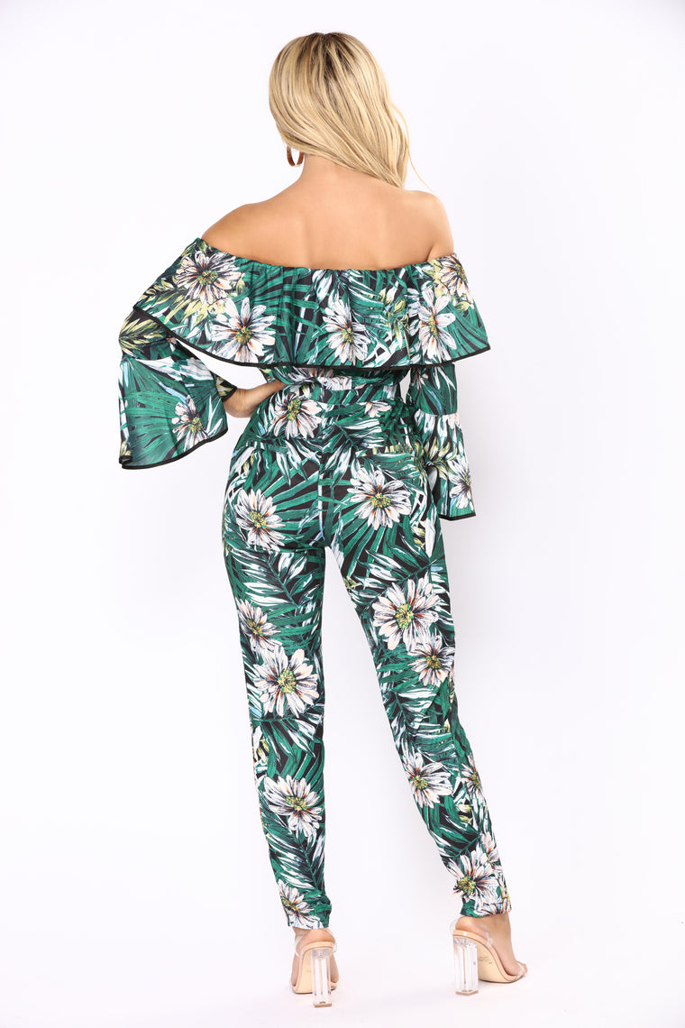 Palm Island Tropical Jumpsuit - Green Multi