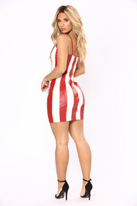 Fast Lane Leather Dress - Red/White