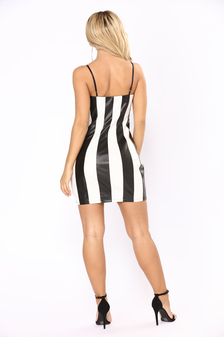 Fast Lane Leather Dress - Black/White