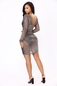 Zhou Metallic Dress - Gunmetal