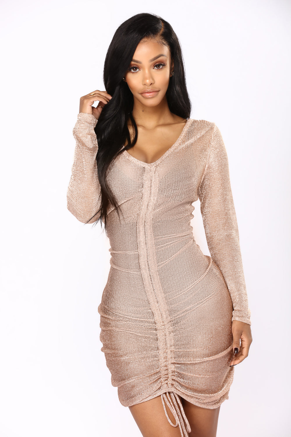 Zhou Metallic Dress - Rose Gold