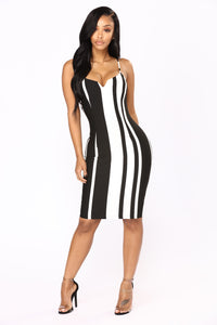 Lights Off Mini Dress - Black/White