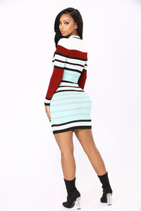 Prep School Stripe Dress - Burgundy/Blue