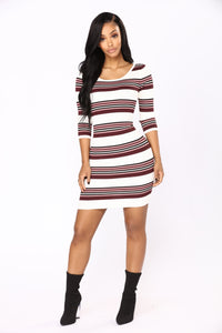 Eugenie Stripe Dress - Ivory/Burgundy