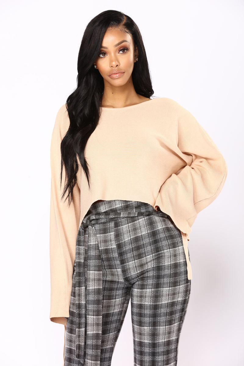 Damn Gina Wrap Sleeve Sweater - Peach