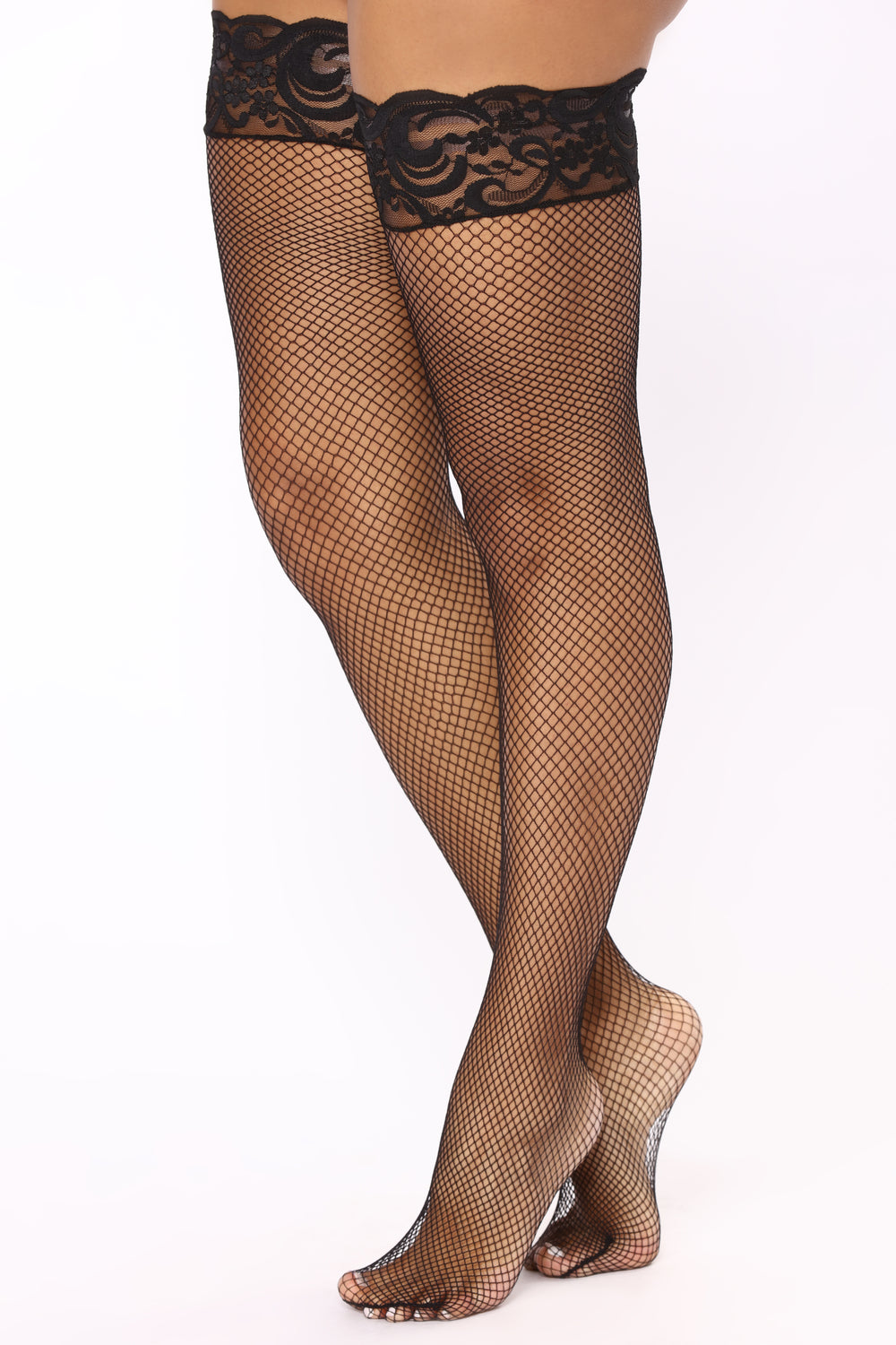 Can't Afford To Lose Fishnet Thigh Highs - Black