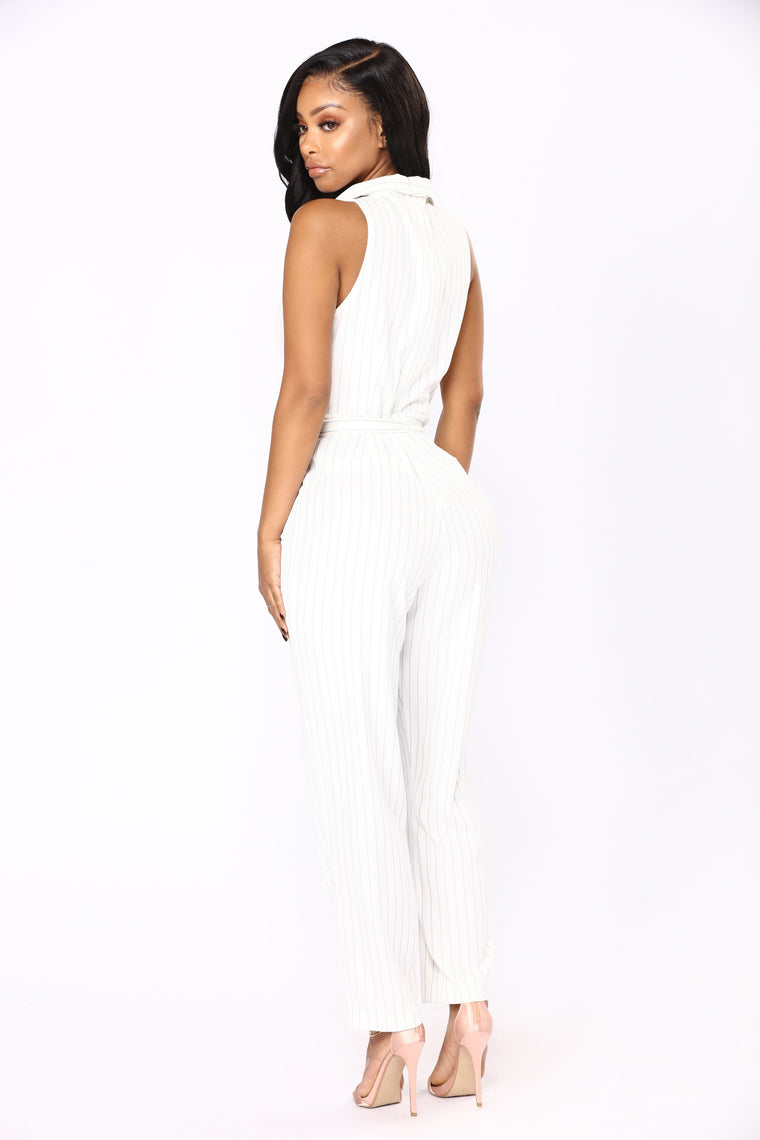 Office Crush Stripe Jumpsuit - Ivory