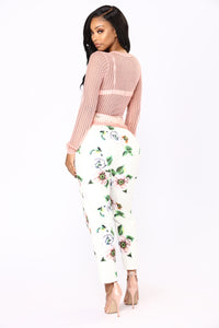 Floral Girl Pants - White Floral