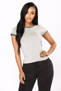 She's Loving The Crew Neck Tee - Heather Grey