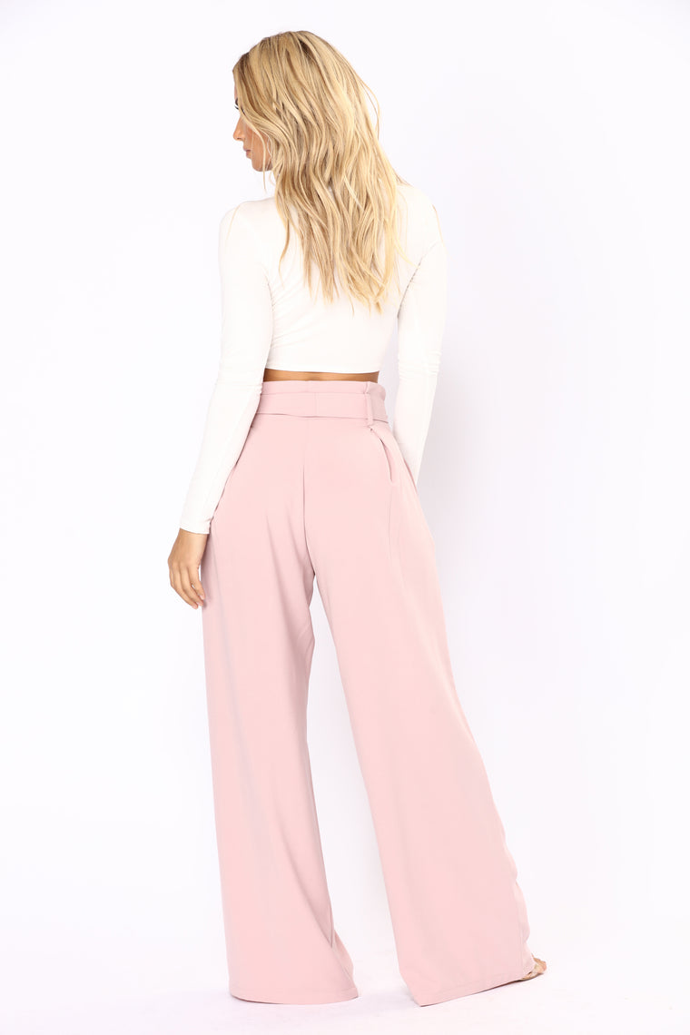 Make Me Blush Tie Waist Pants - Blush