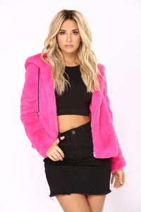 Keep It Real Cozy Fur Jacket - Hot Pink