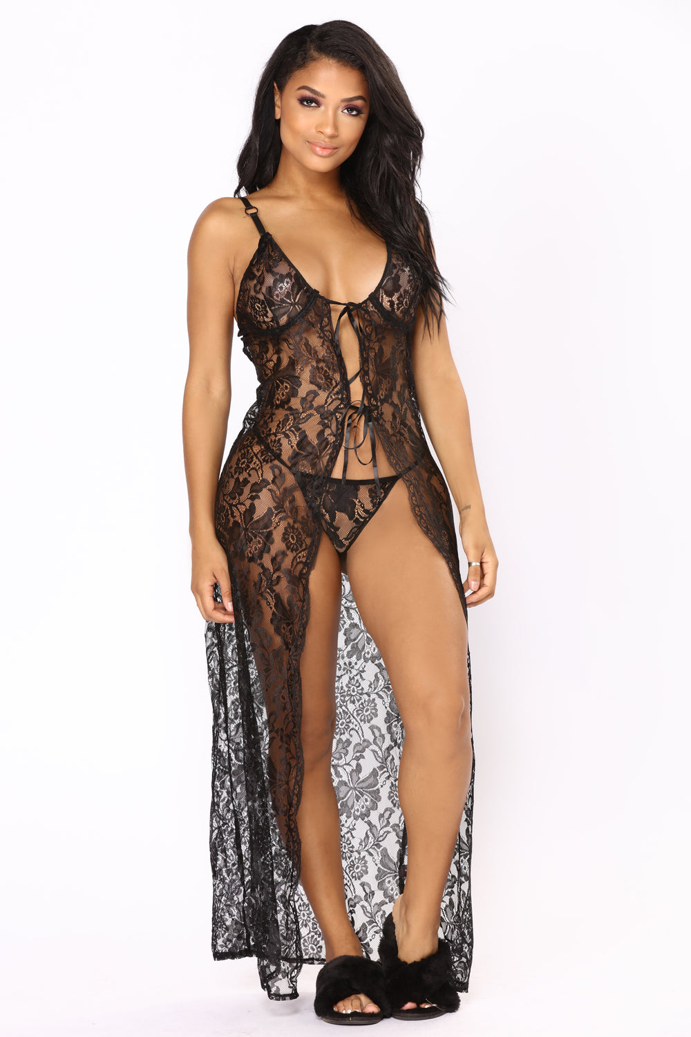Laced In Motion Robe - Black