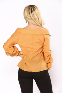 Elana Off Shoulder Top - Mustard